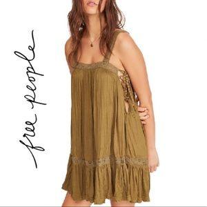 FREE PEOPLE Sweet Thing Tunic Dress Moss L NWT